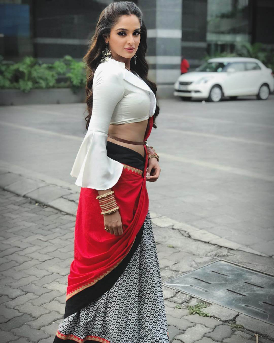 asmita sood in white shirt and red colored saree