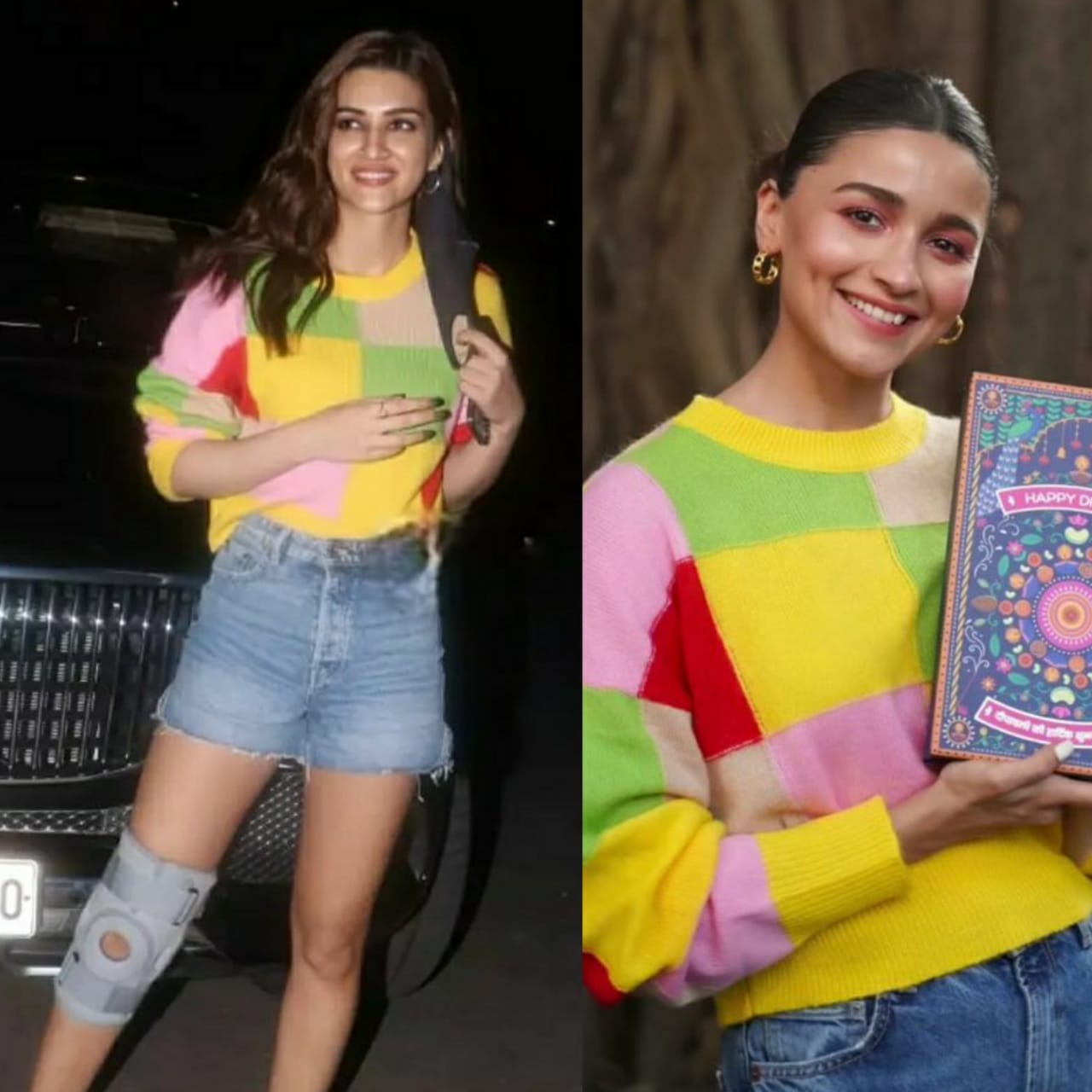 Who wore it better?  Kriti Sanon or Alia Bhatt, owner of the multicolored T-shirt and blue denim shorts
